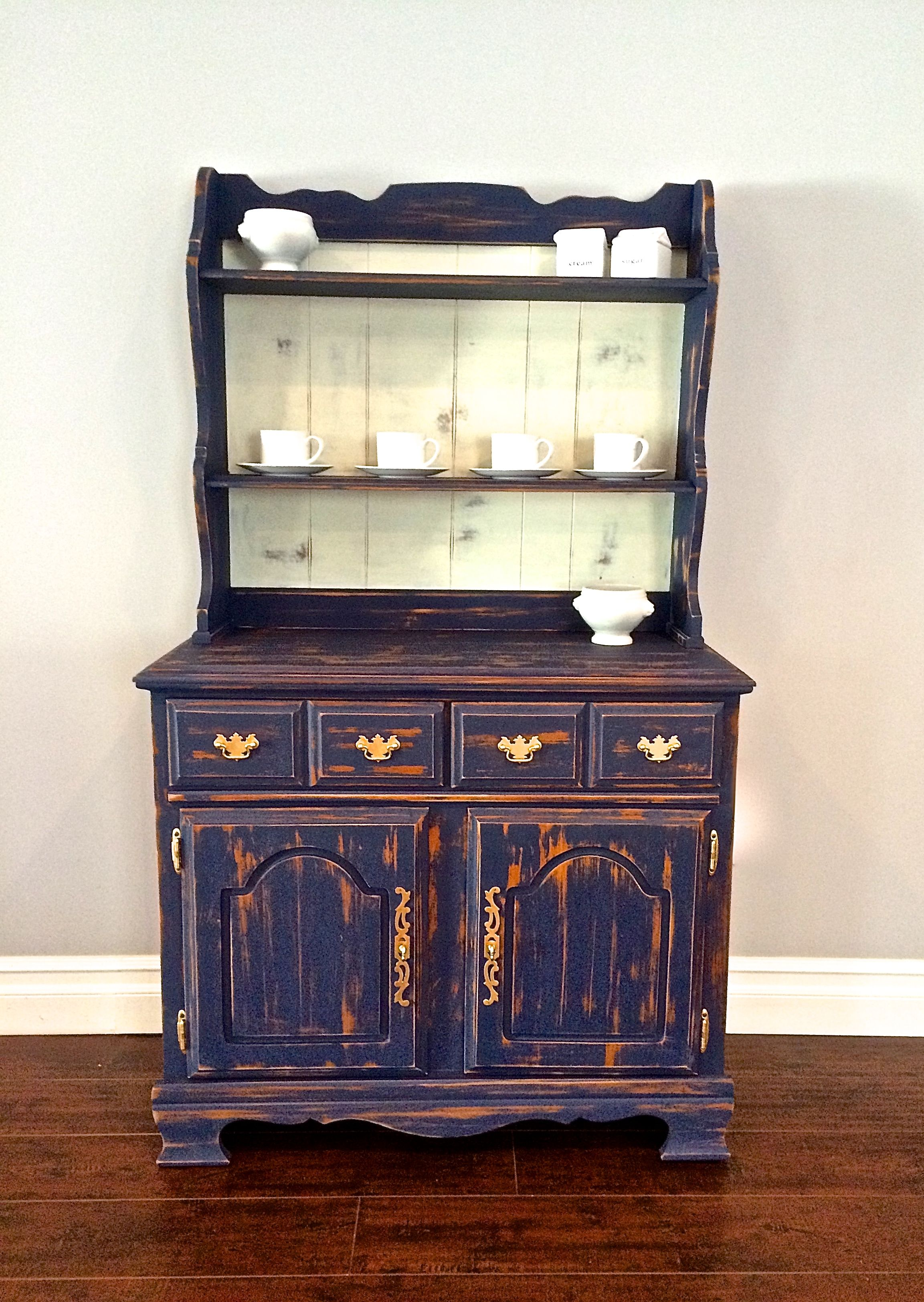 Blue shabby chic furniture - Shabby Chic Navy Blue White Gold Leaf Hutch 250 Sold
