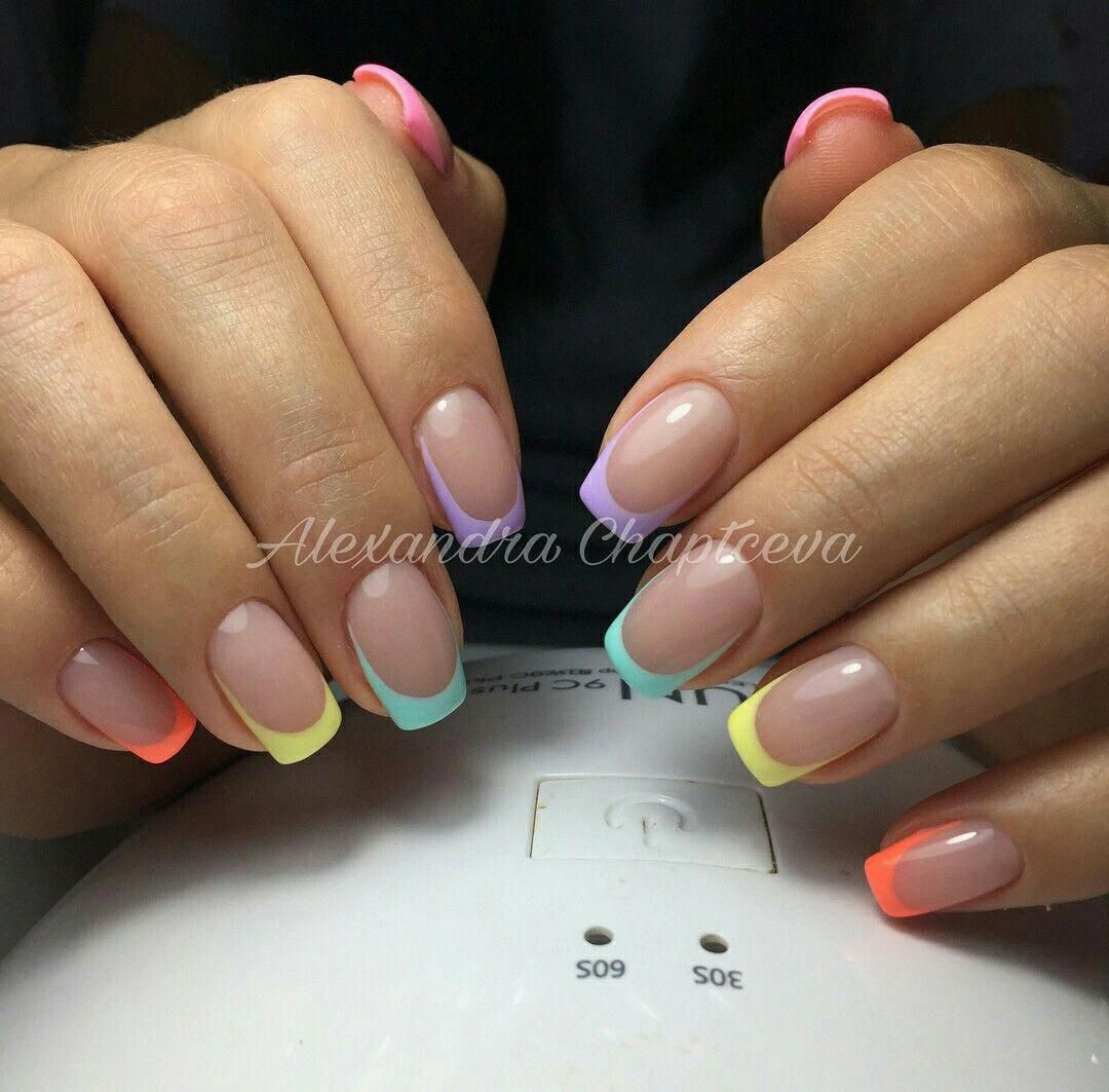 45 Hottest Summer Nail Colors And Designs For 2020 Summer Nail Colors Are Always Bright And G In 2020 Summer French Nails Gel French Manicure Pretty Acrylic Nails