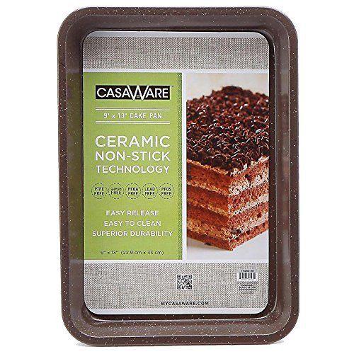 casaWare Ceramic Coated NonStick 9 X 13 x 2-Inch Rectangular Cake Pan (Brown Granite) - LaPrima Shops ®