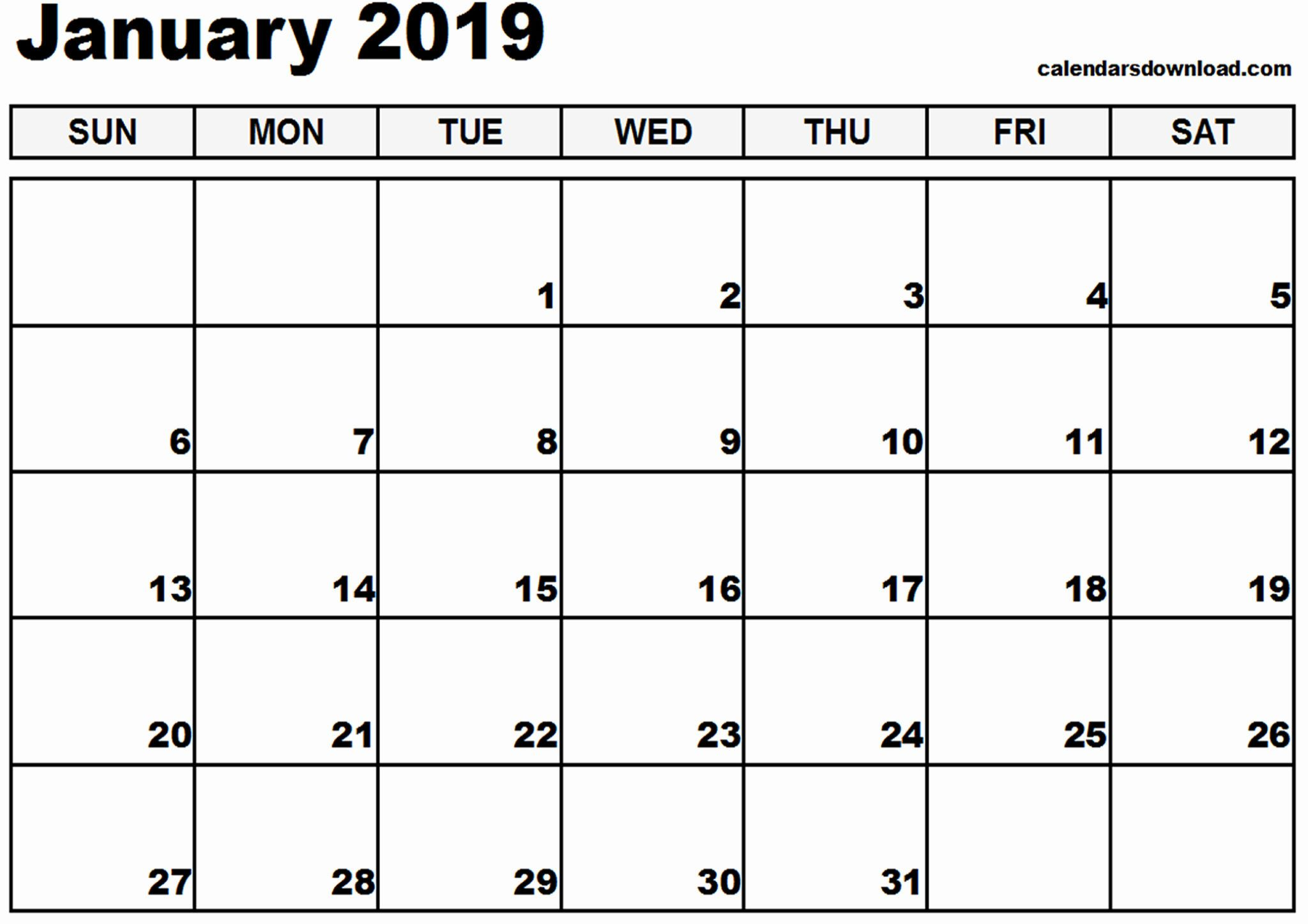 January Month Calendar 2019 Printable | 123 Blank January