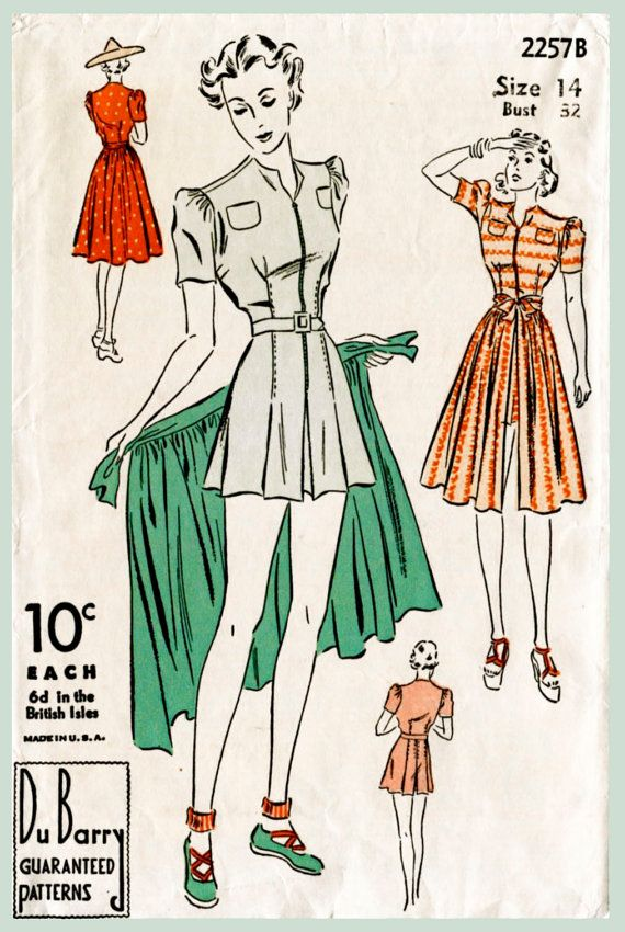 1940s 40s vintage swimsuit sewing pattern women\'s playsuit beach ...