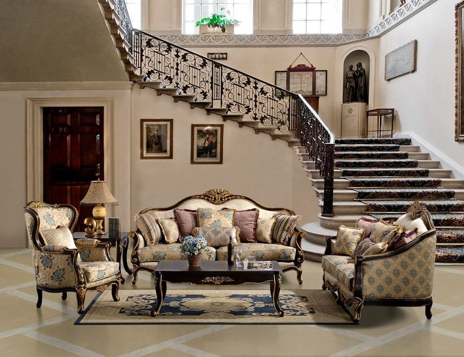 Formal Antique Luxury Sofa Love Seat 2 PC Living Room Set HD 385