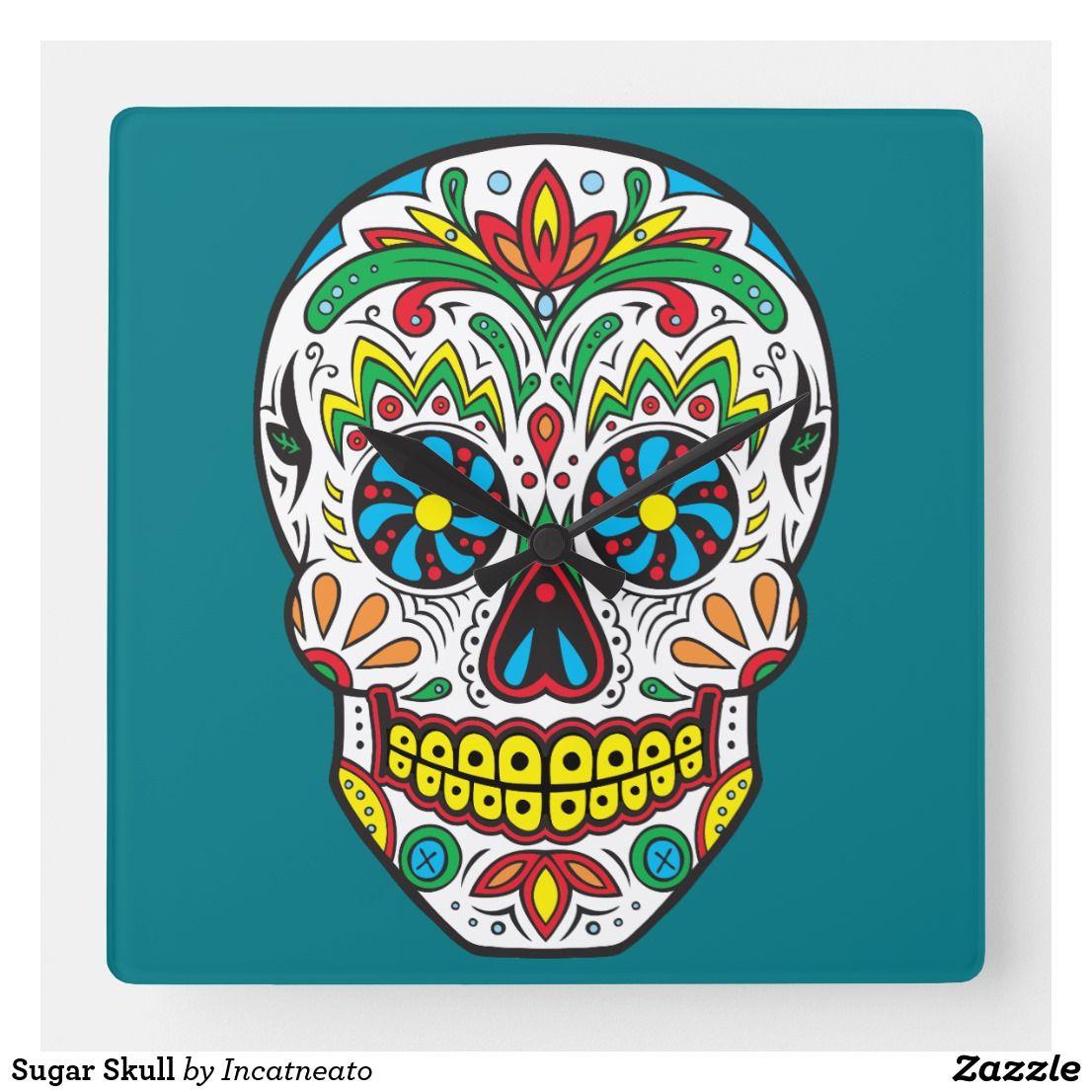 Photo of Sugar Skull Square Wall Clock | Zazzle.com