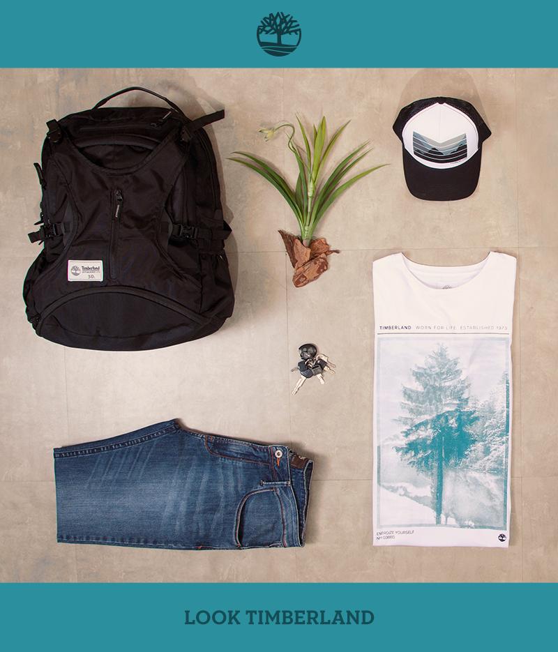 Boné Paisagem, calça jeans Slim Thompson, camiseta dupla exposição e mochila Day Backpack 30L. Encontre seu próximo look na Timberland mais próxima: http://bit.ly/lojastbl.