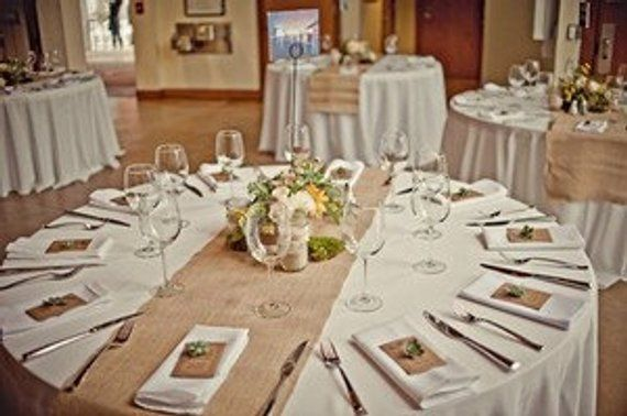 90 X 15 Inch Burlap Table Runners, Burlap Runners On Round Tables