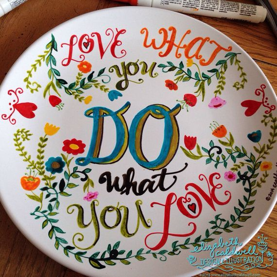 Items similar to Do what you love hand drawn ceramic plate on Etsy
