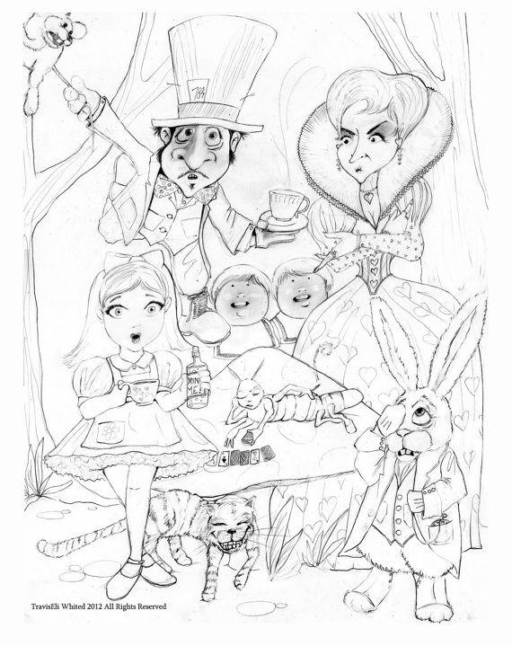 trippy coloring pages people fantasy cartoons alice in wonderland
