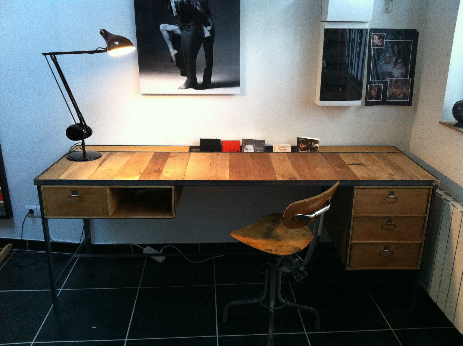 Bureau bois et métal industriel ebay design