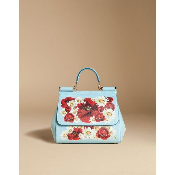 Dolce & Gabbana Medium Sicily Bag In Printed Dauphine Leather ($2,175) ❤ liked on Polyvore featuring bags, handbags, sky blue, summer purses, beige leather handbag, leather hand bags, beige leather purse and leather flower purse