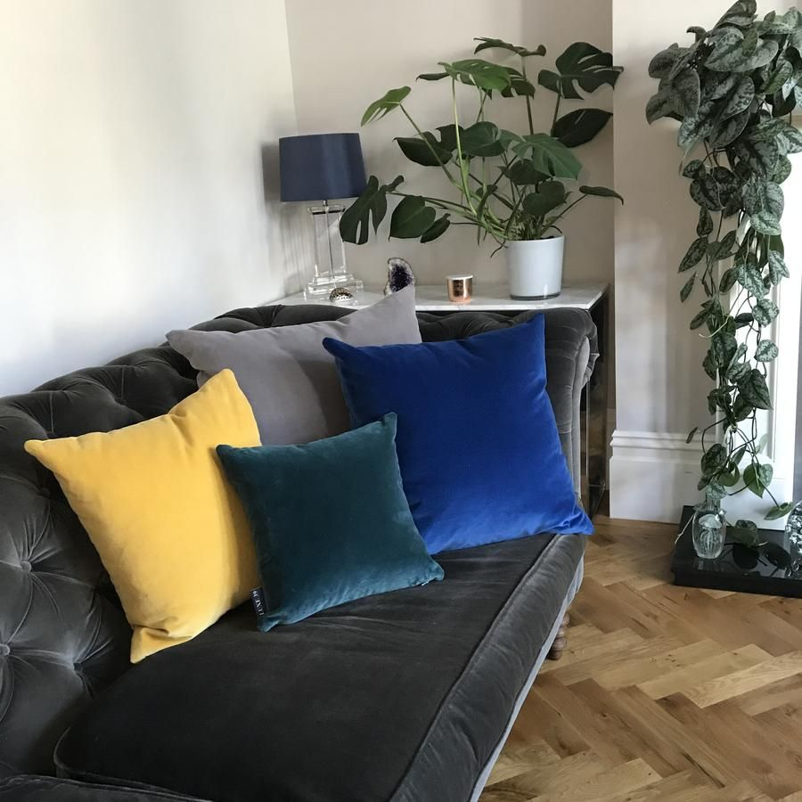 Royal Blue Velvet Cushion With Silver Grey Cushions For Grey Sofa Teal Living Rooms Cushions On Sofa