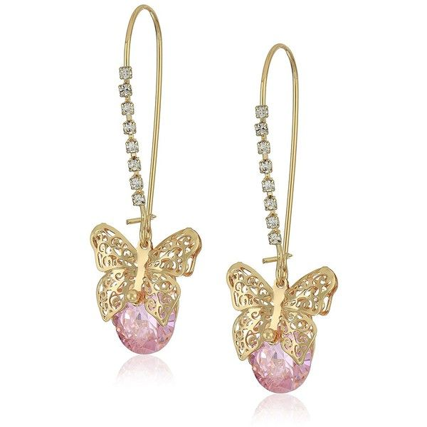 "Betsey Johnson ""Spring Critters"" Cubic Zirconia and Butterfly Long... (€30) ❤ liked on Polyvore featuring jewelry, earrings, betsey johnson jewelry, pink drop earrings, cz jewellery, cubic zirconia drop earrings and gold tone earrings"