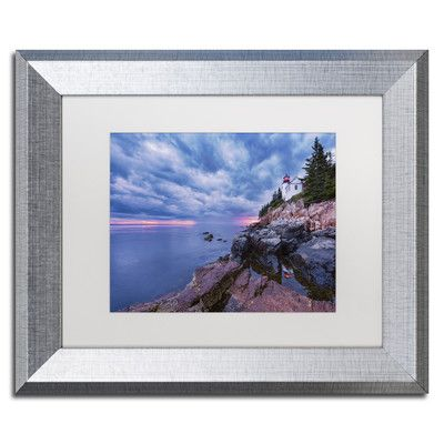 """Trademark Art 'Beacon Reflection' by Michael Blanchette Framed Photographic Print Size: 11"""" H x 14"""" W x 0.5"""" D"""