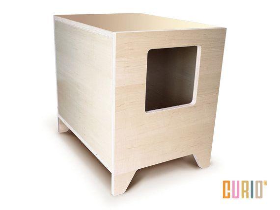 Curio In Maple Modern Cat Litter Box Designer House