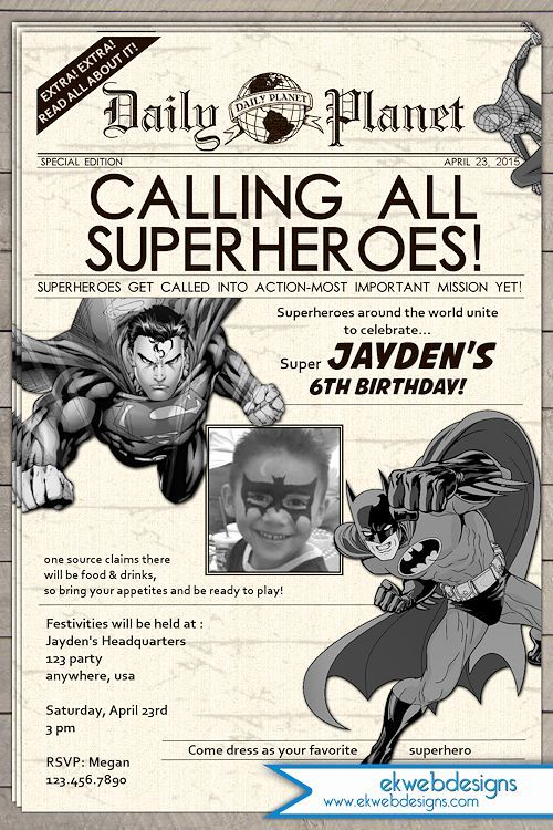Super Hero Birthday Invitation Newspaper Superhero Birhday