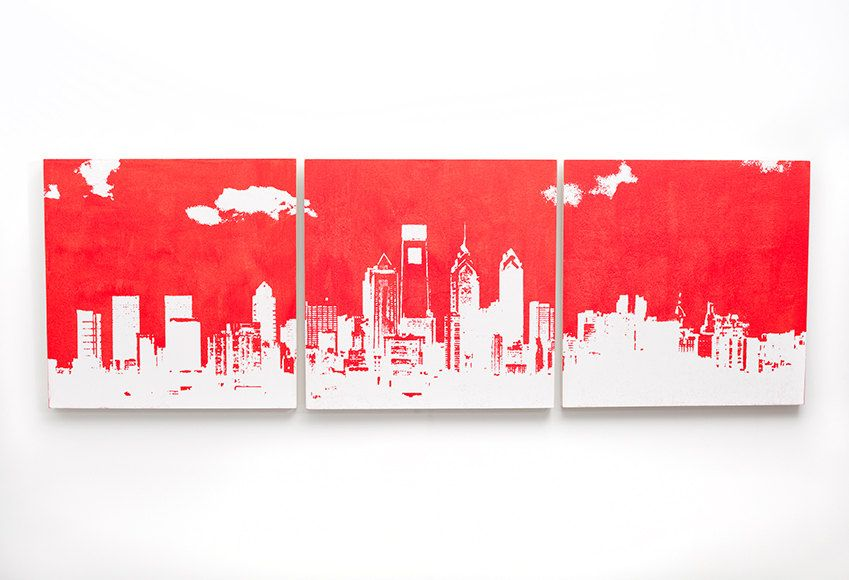 Philadelphia Skyline Wall Art 3 Piece Triptych Red And White Philly Cityscape 3 X 1 Foot Screen Print Painting Philadelphia Wall Art Philadelphia Skyline Triptych