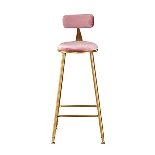 Modern Barstool Footrest Chair For Bar Pub Bistro Kitchen Breakfast Bar Stool With Backrest Counter Height Side Dining Chair Pink Kitchen Breakfast Bar Stools Breakfast Bar Stools Bar Stools