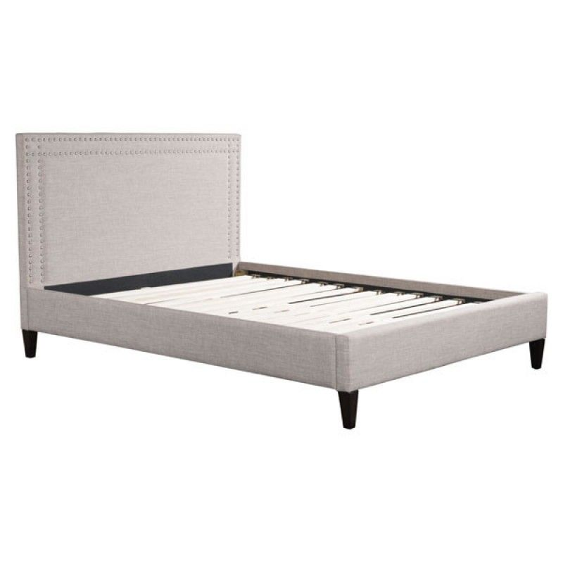 63 x 87 0035900000 Simple stated the Renaissance Queen platform bed features a fully upholstered bed in soft Dove Grey poly-linen accented with chrome nail head trim details to rectangular slim profile and supported by angled block style feet. European slat system needs mattress only for ultimate comfort. Collection includes Queen, Eking beds or Full Headboard only.