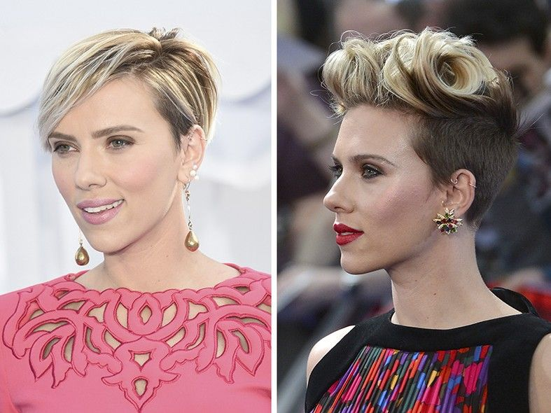 Scarlett Johansson é outra celebridade que desapegou do cabelão e tem apostado em diferentes penteados, mesmo com os fios curtinhos. À esquerda, ela optou por um visual mais natural, valorizando o seu corte pixie. Já à direita, ela investiu em um topete
