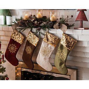 Sequin Snowflake Stocking | Christmas stockings, Unique ...