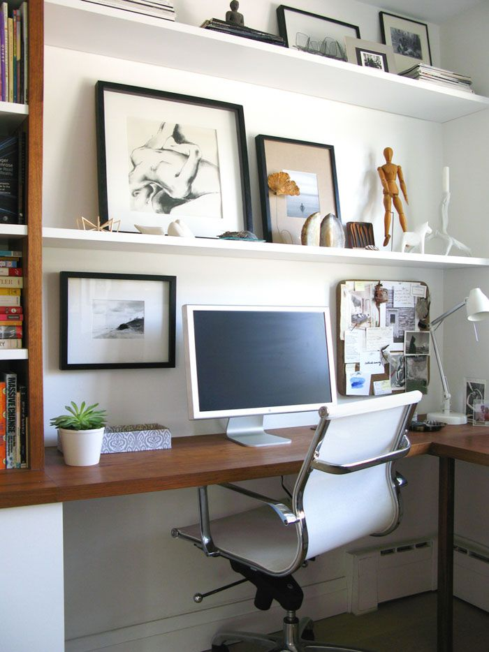 home office makeover pinterest. Contemporary Office Custom Wraparound Desk W Builtin Shelving  An Artistic Coupleu0027s Toronto  Home In Office Makeover Pinterest