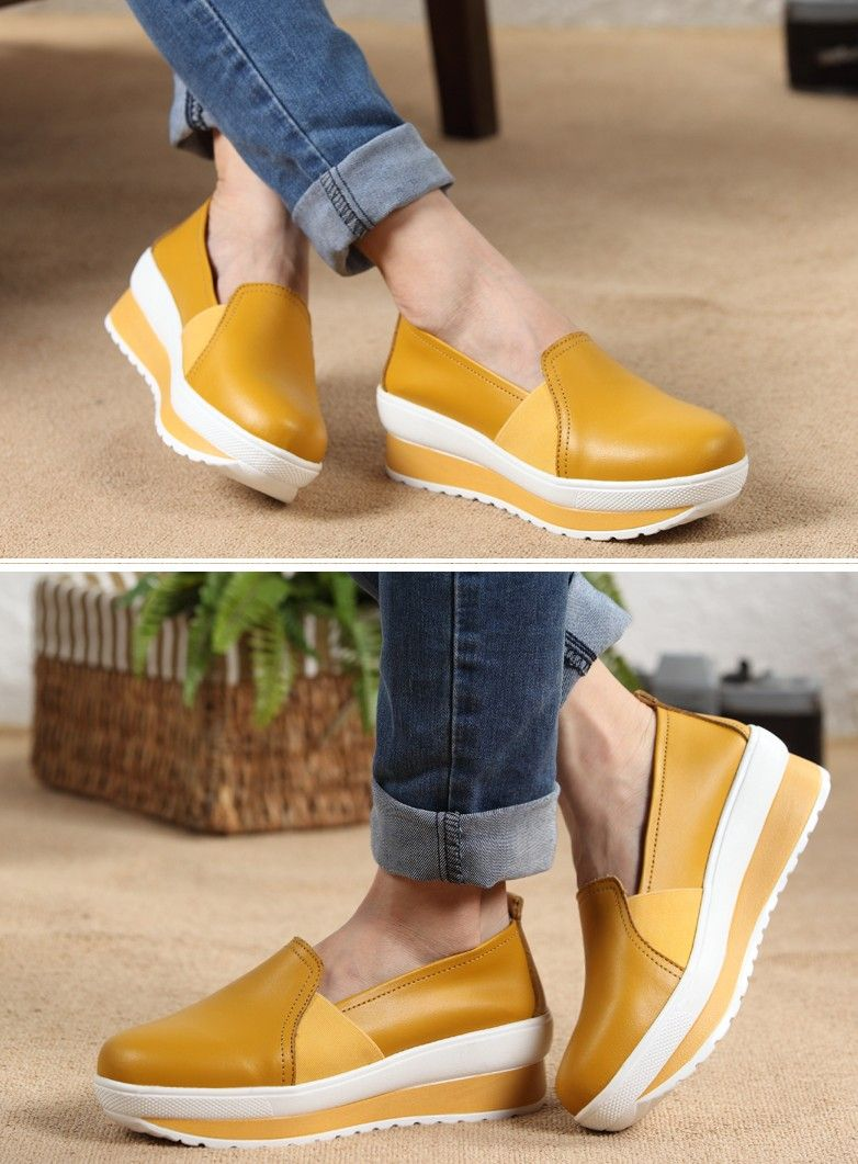 Women's casual #yellow PU leather slip on #platform shoes, Round toe design, leather upper, mesh lining.