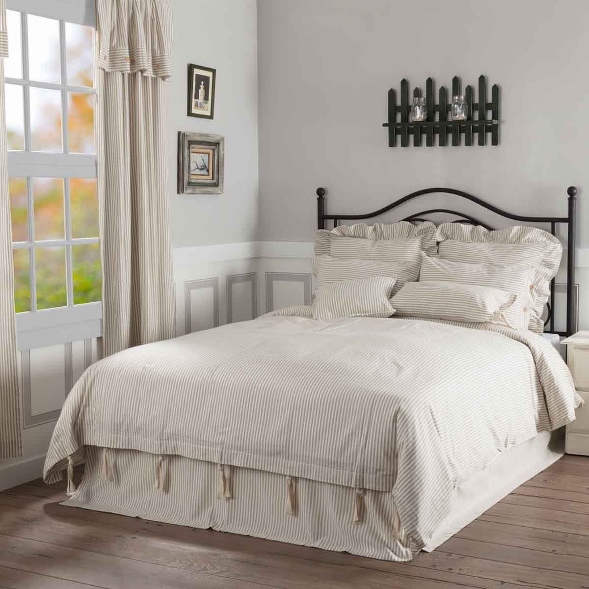 Piper Classics Farmhouse Ticking Taupe Queen Bed Skirt