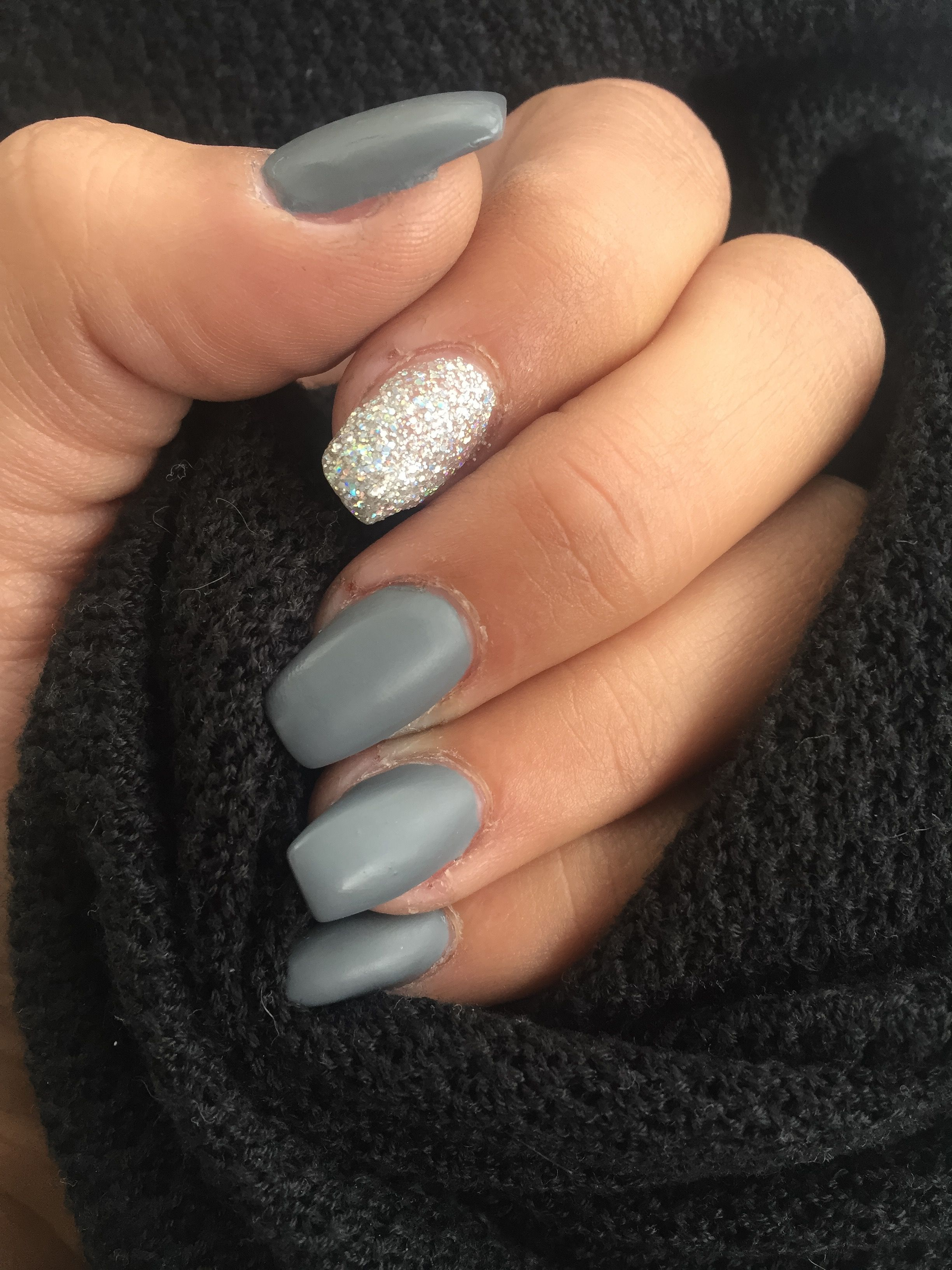 My Matte Grey Nails With Accent Nail Nails Now Gray Nails Grey Matte Nails