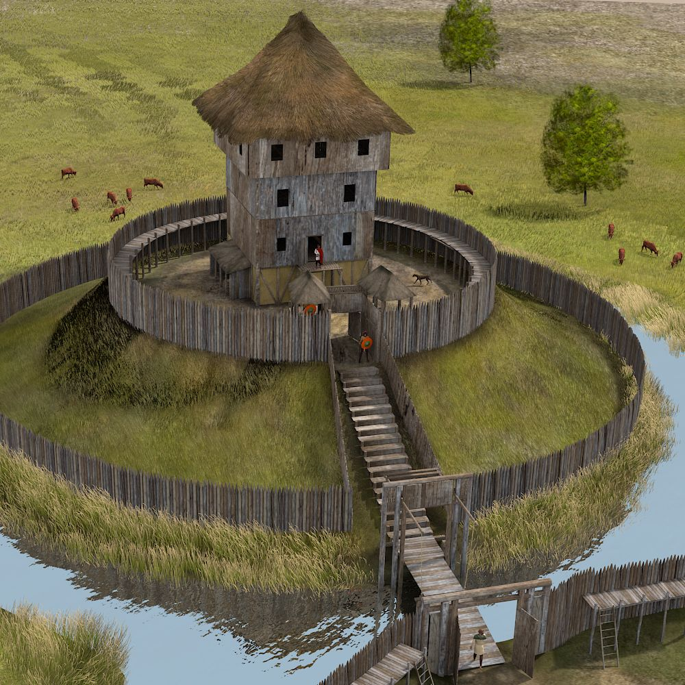 Middle Ages Fifteenth To Eighteenth Century Paul Becx Archeologisch Illustrator En Animator Motte And Bailey Castle Middle Ages Fantasy Castle