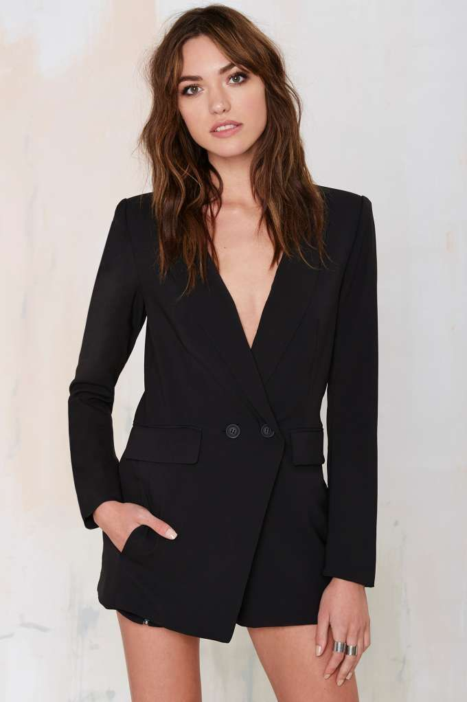 9645b9111355 No Tux Given Blazer Romper - Black - Rompers + Jumpsuits