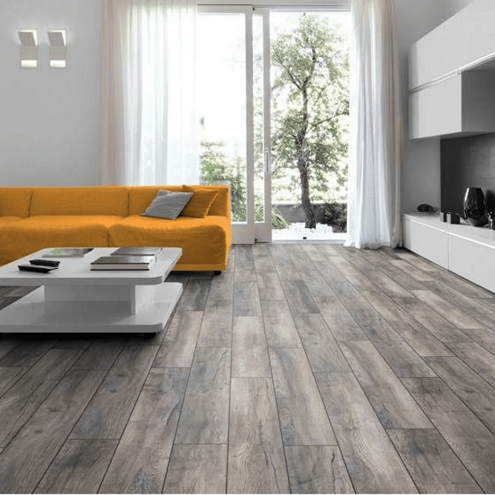 Nest 10mm Aged Grey Oak Textured 4v Laminate Flooring In 2020 Grey Laminate Flooring Grey Oak Gray Oak Floor