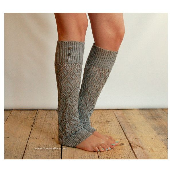 LouLou - light grey: Open-work Leg Warmers with Antique Silver Metal Buttons - legwarmers (item no.9-13) ($26) found on Polyvore