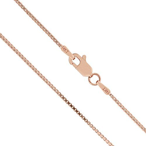 14K Solid Rose Gold 1mm Box Chain Necklace - 24 Inches * Click image to review more details.