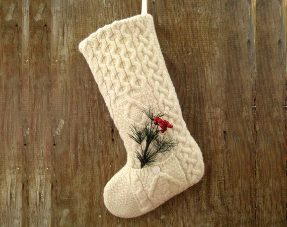 vintage sweater christmas stocking with pocket 2 by sohodesign 3999 - Sweater Christmas Stockings