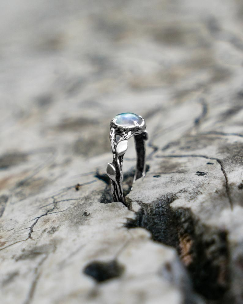 nature inspired twig jewelry gift for women Moonstone engagement ring Tiu sterling silver leaf gemstone ring