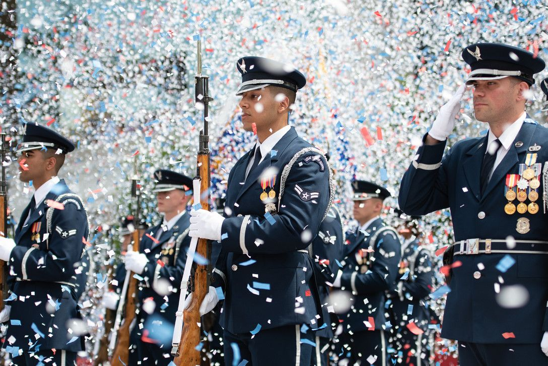 Members of the U.S. Air Force Honor Guard Drill Team stand