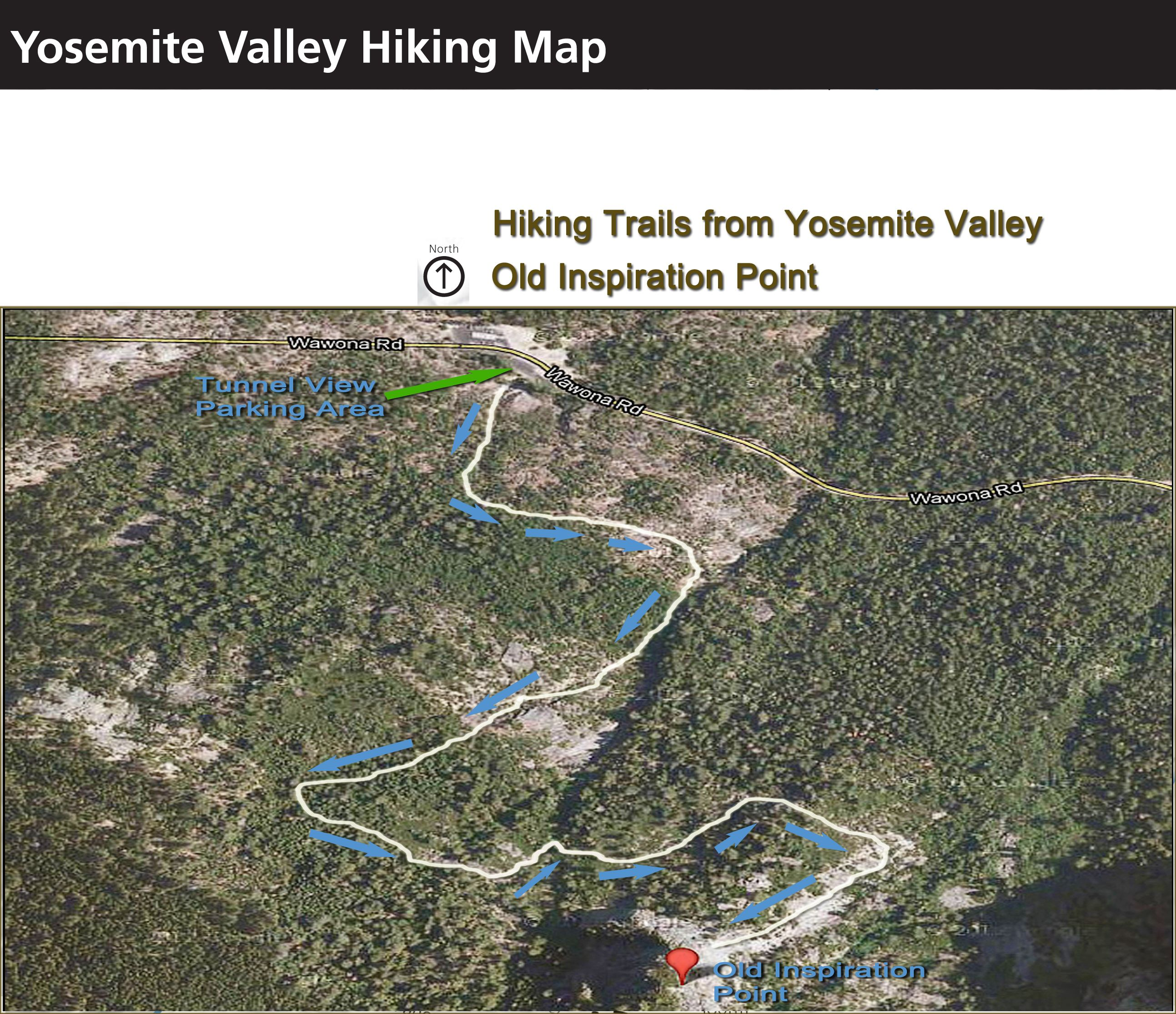 Yosemite Hiking Map Old Inspiration Point This short narrow trail