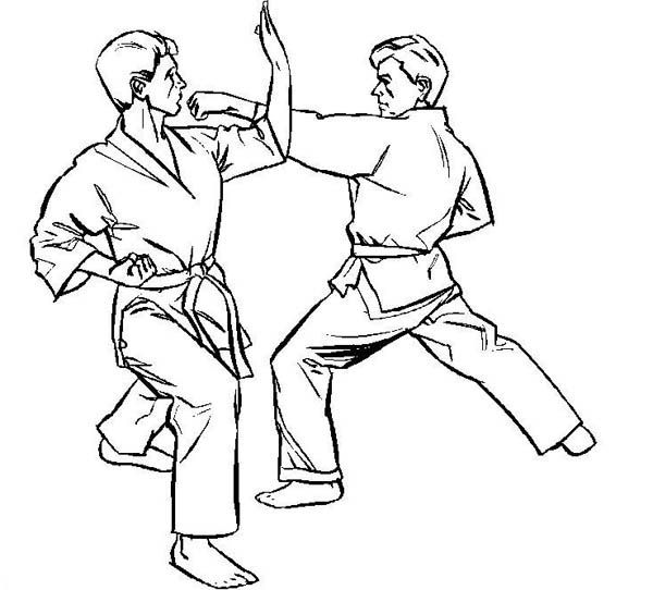 karate coloring pages Karate Kid, : Karate Kid on Counter Attack Coloring Page  karate coloring pages