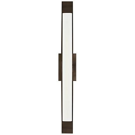 Off dover bronze one light fluorescent bath fixture by lbl lighting linear bath bar with a perfect balance of glass and metal