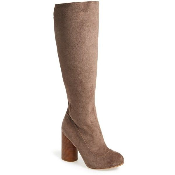 "Jeffrey Campbell 'Sequel - Hi' Tall Boot, 3 3/4"" heel ($180) ❤ liked on Polyvore featuring shoes, boots, knee-high boots, taupe stretch suede, suede boots, tall boots, stretch suede boots, knee boots and taupe boots"