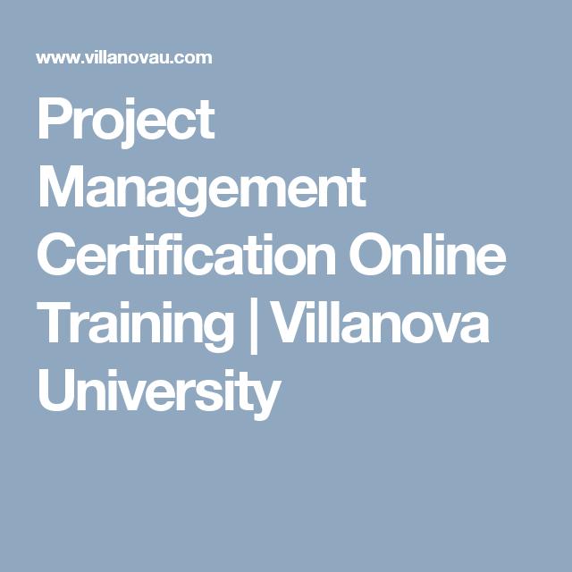 Project Management Certification Online Training Villanova