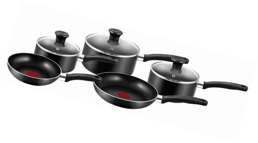 5 Pcs Black Aluminium Cookware Set Non Stick Thermospot Frying Pan