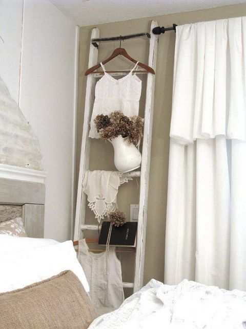 #DIY I want to make this with photographs hanging along the rails and seashells for a shabby chic beach look!