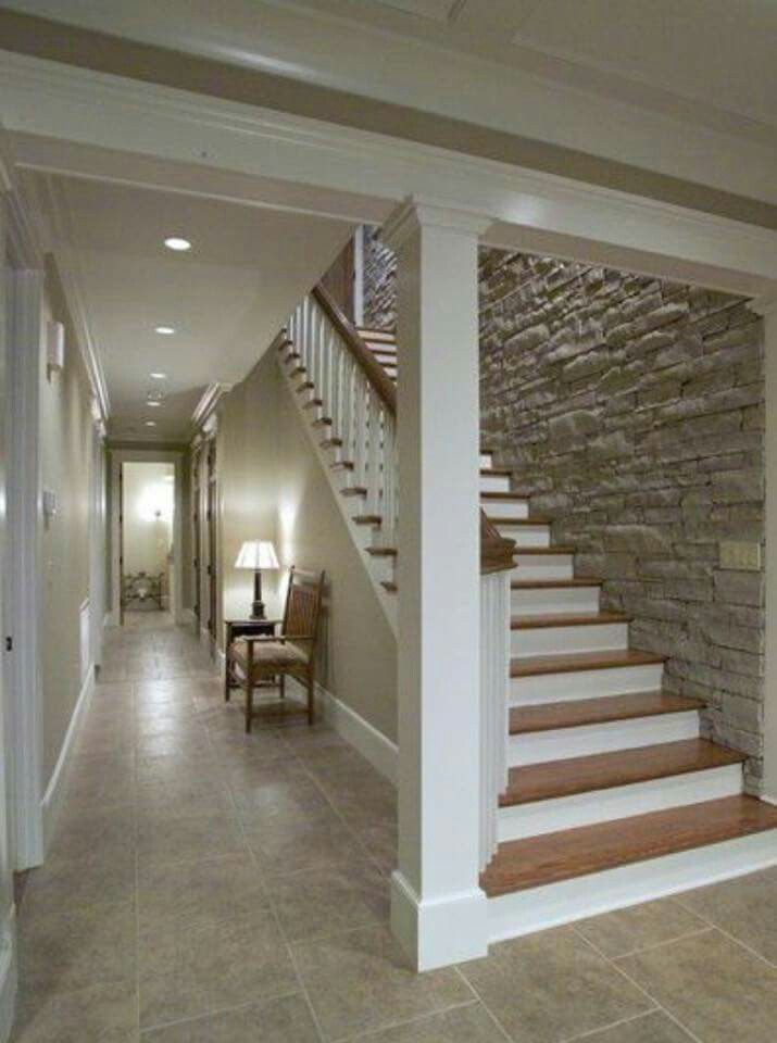 Stone wall down the stairs...nice in 2020   Basement ...