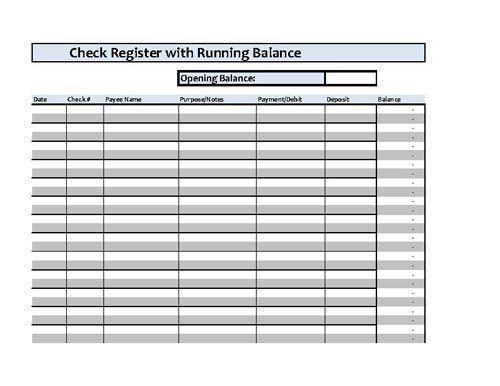 Checkbook Register Spreadsheet - Microsoft Excel FYI Pinterest