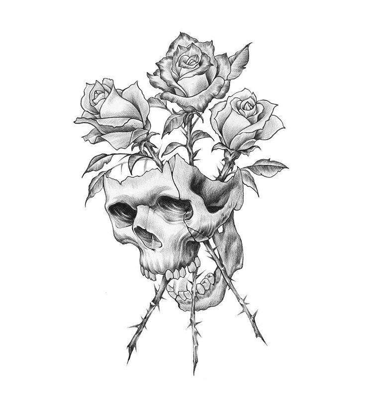 Pin By Gepardik On Tattoo Ideas Skull And Rose Drawing Skull Tattoo Design Skeleton Tattoos
