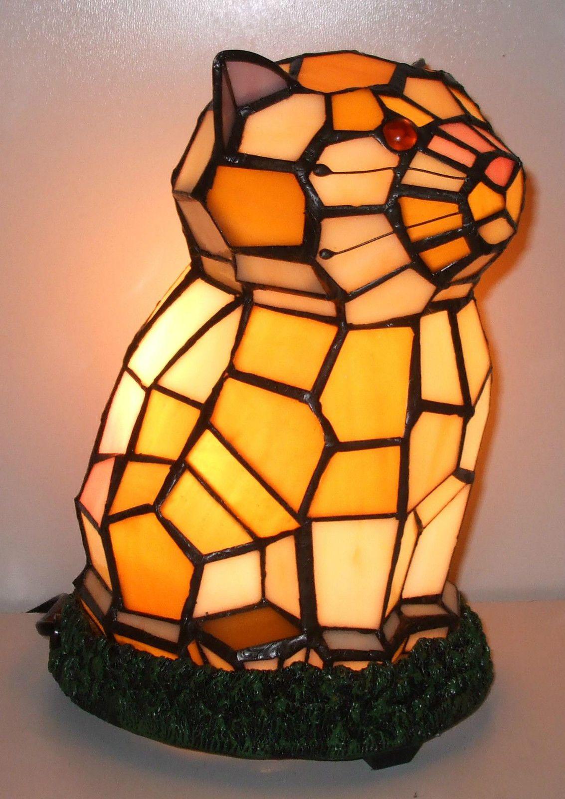 Loxton Lighting 19 Cm Tiffany Cat Table Lamp Multi Colour