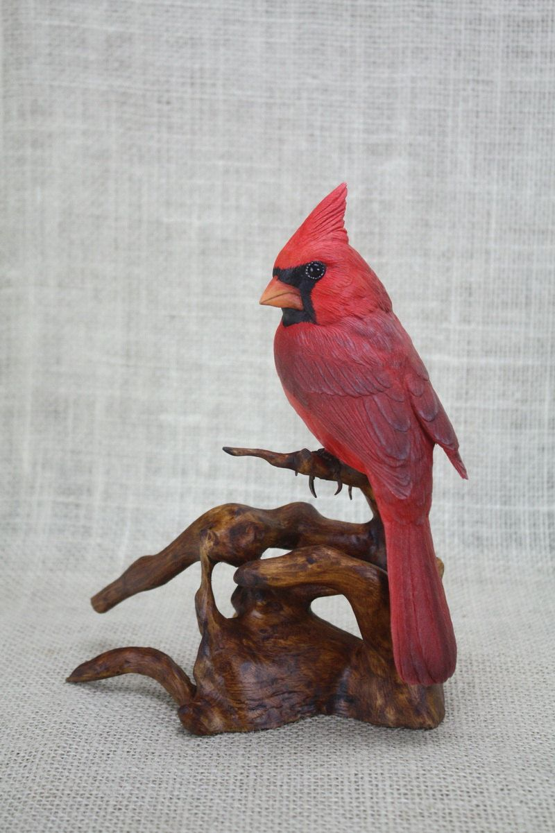 Northern Cardinal Wood Carving Hand Carved Bird Bird Sculpture