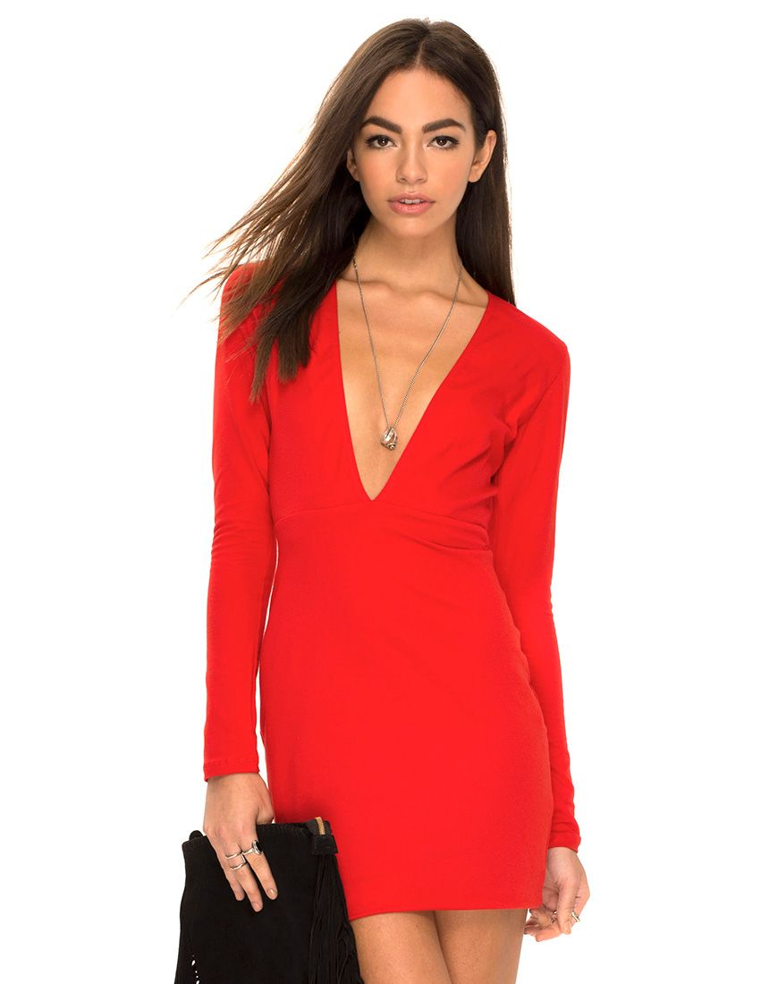Get heads turning in our red Meli dress! Featuring a flattering ...