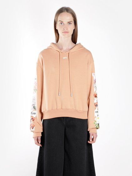 OFF-WHITE C O VIRGIL ABLOH OFF WHITE C O VIRGIL ABLOH WOMEN S PINK  DIAGONALS FLOWER SHOP CROPPED HOODIE.  off-whitec ovirgilabloh  cloth   edabed25c