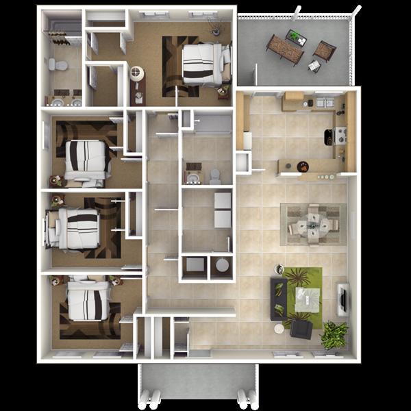 Nsa jrb new orleans belle chasse neighborhood 4 bedroom for Ada bedroom
